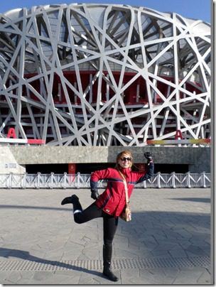 running blogger at chinese olympic stadium
