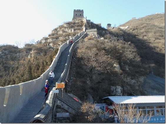 walking along the great wall of china