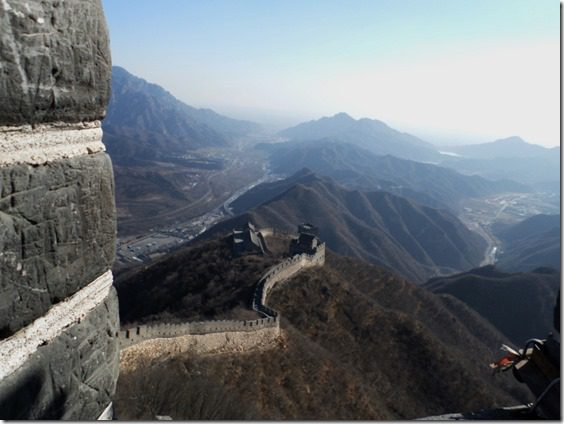 walking on the great walll of china