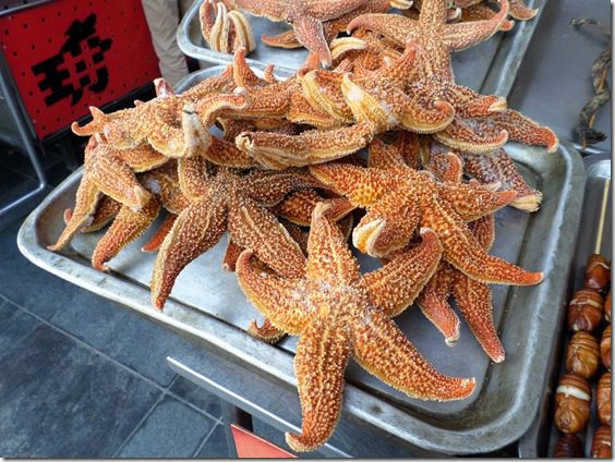 eating starfish in china on snack street