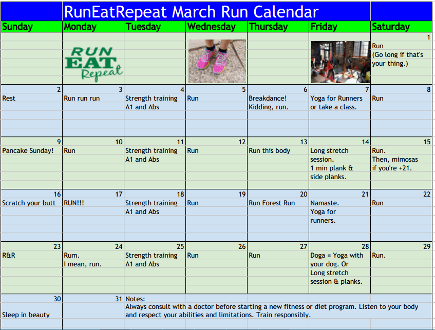 Running And Strength Training Plan March