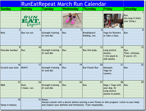 RunEatRepeat March Run / Strength Train Calendar