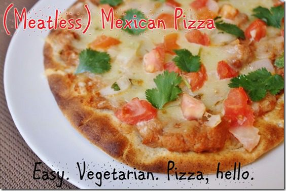meatless mexican pizza recipe thumb Meatless Mexican Monday–Pintos Pizza