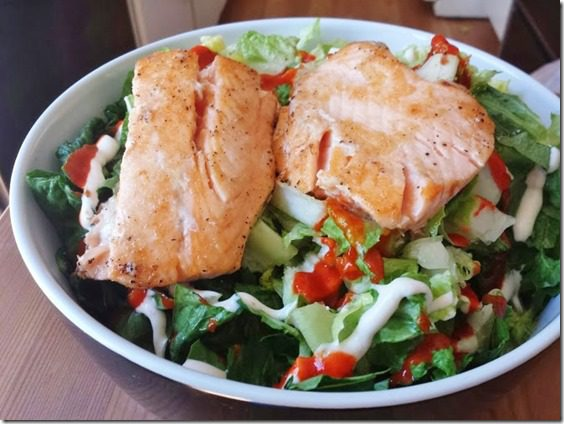 salmon on salad 669x502 thumb What I'm Eating Wednesday National Drink Wine Day