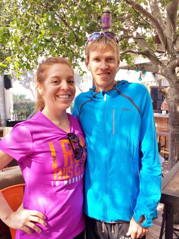 monica and ryan hall before la marathon run 600x800 Last Minute Tips Before the LA Marathon from Coach Kastor, Ryan Hall and Deena Kastor