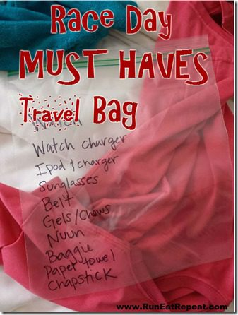 race day must haves travel bag marathon half marathon training thumb Quick Tip: MUST HAVE Race Day Travel Bag