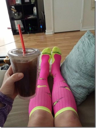 relaxing after half marathon with procompression 600x800 thumb PCRF Half Marathon Results and Recap WITHOUT a watch