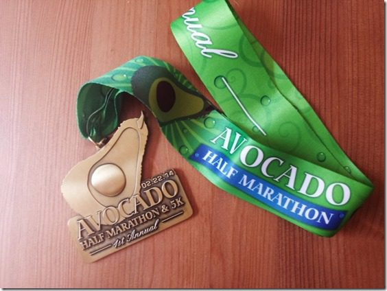 avocado half marathon medal ribbon 800x600 thumb1 Running a Marathon Without a Watch and April Highlights