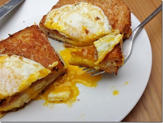 Grilled Cheese Topped with Egg