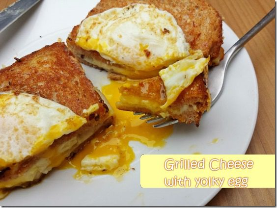 grilled cheese with over easy egg yolk  thumb Grilled Cheese Topped with Egg