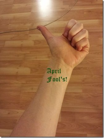 new wrist tattoo april fools joke