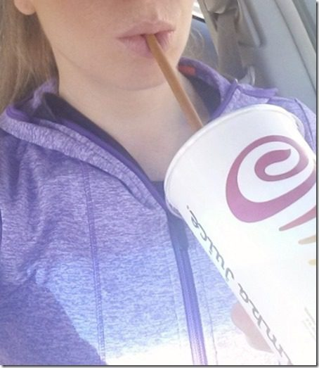 sipping on jamba juice veggie smoothie 450x800 thumb Jamba Juice Green Smoothie Giveaway