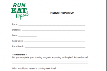Race Review Form How to assess your performance at a race and learn from it.