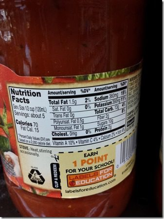 prego heart smart sauce with nutrition 600x800 thumb How To Find a Low Sugar Spaghetti Sauce–Weight Loss Tip