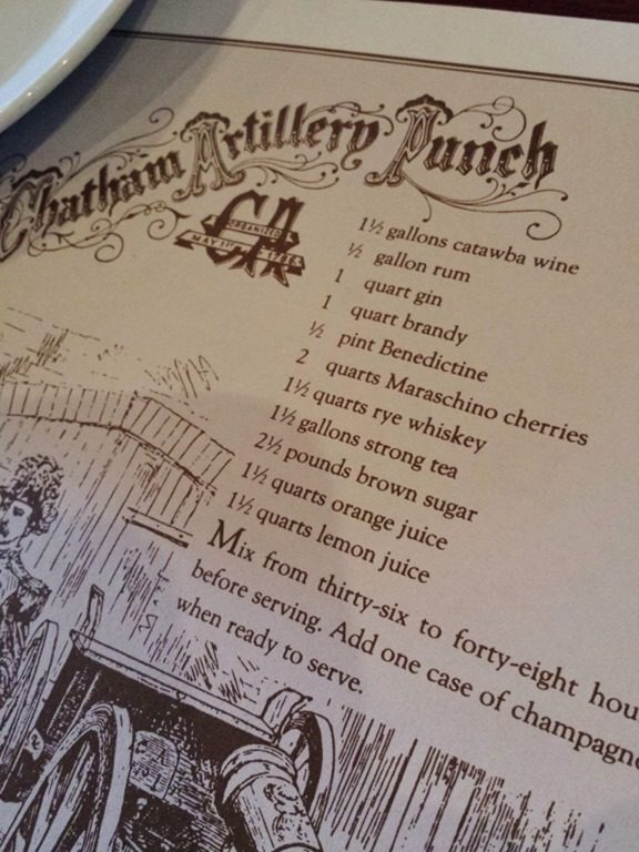 also learned the recipe to chatham artillery punch