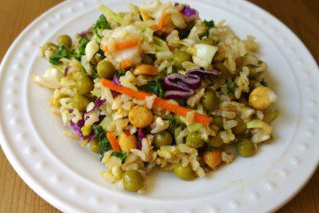 20 Minute Dinner Recipe - Brown Rice Salad with Peanut Sauce