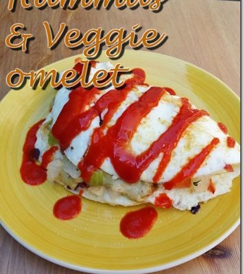 Hummus and Veggie Stuffed Omelet