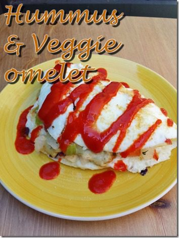 hummus and veggie omelet