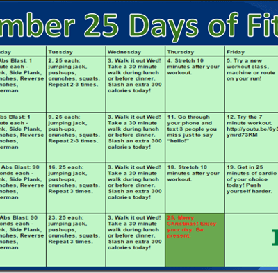 25 Days of Fitness December 2014 Starts NOW!