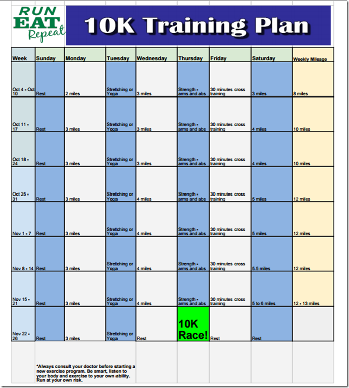 how to run 10k in 10 weeks