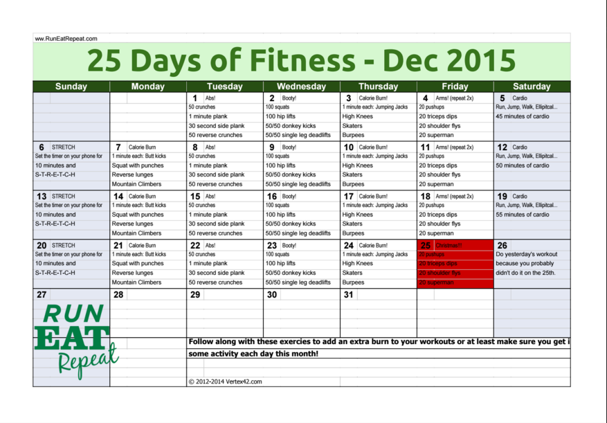 25 Days of Fitness Challenge December 2015 - Run Eat Repeat
