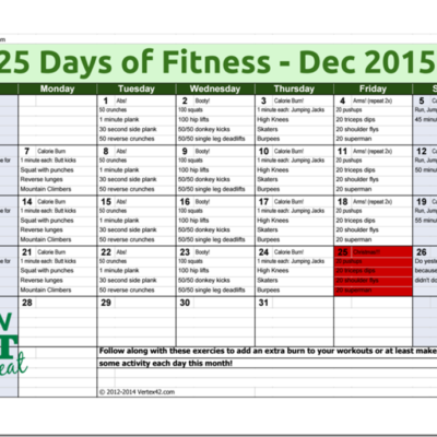 25 Days of Fitness Challenge December 2015