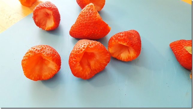 scooped out strawberries