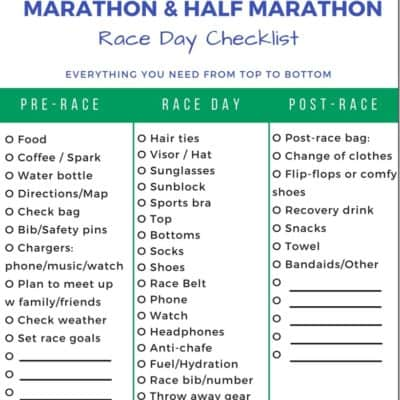 Marathon & Half Marathon Race Day Checklist