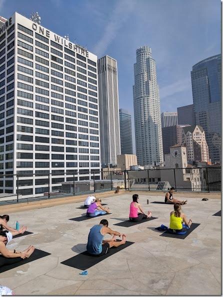 Los Angeles Marathon pre race yoga on top of building
