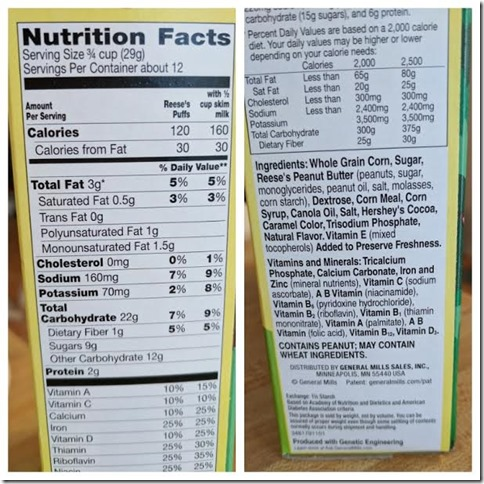 reese pb bunny cereal nutrition