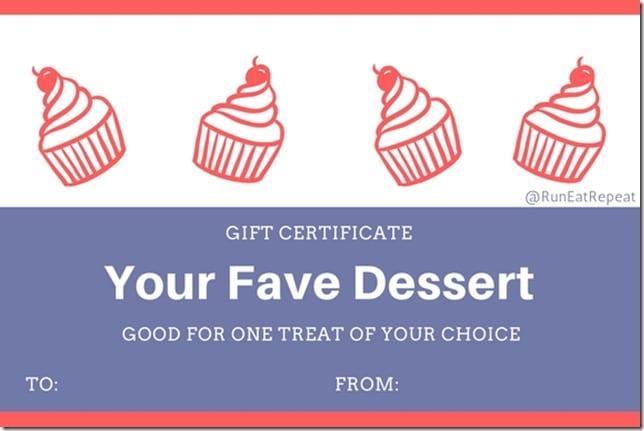 Runner gift certificate Dessert