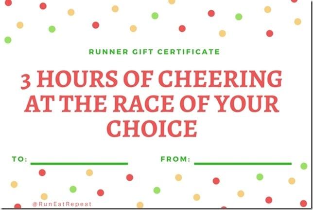 Runner gift certificate Race Cheering