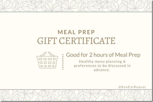 runner gift certificate meal prep