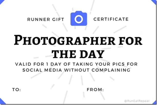 runner gift certificate photographer for day