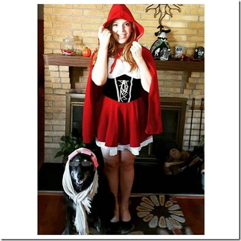 Little red riding hood costume with dog Roxy