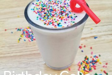 Birthday Cake Smoothie Recipe with yogurt and sprinkles