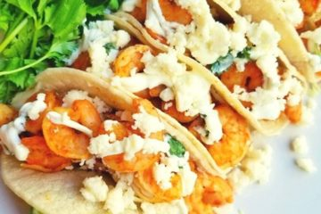 Sheet Pan Shrimp Tacos with Creamy Cilantro Sauce
