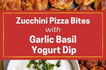 Zucchini Pizza Bites with Garlic Basil Yogurt Dip