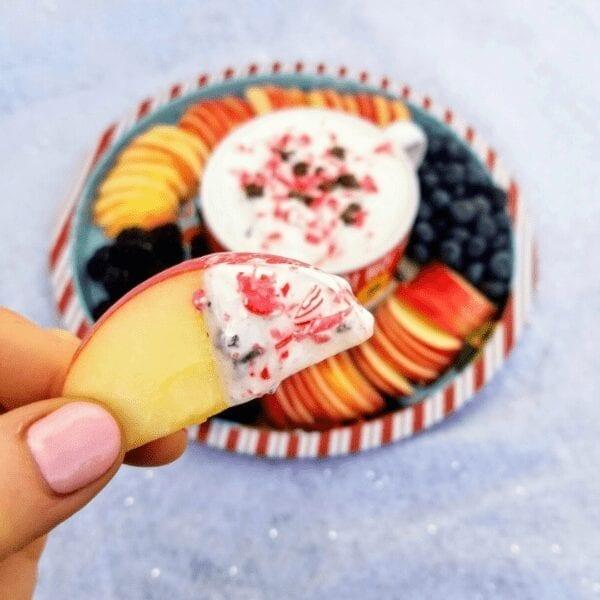 Easy Peppermint Bark Yogurt Dip healthy recipe