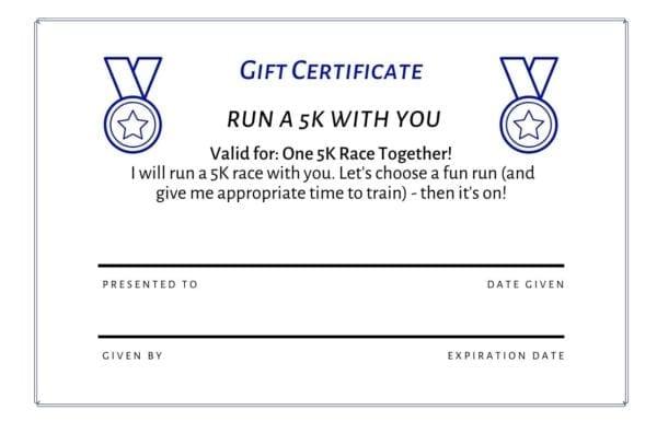 Running Gift Certificates 5K free pdf