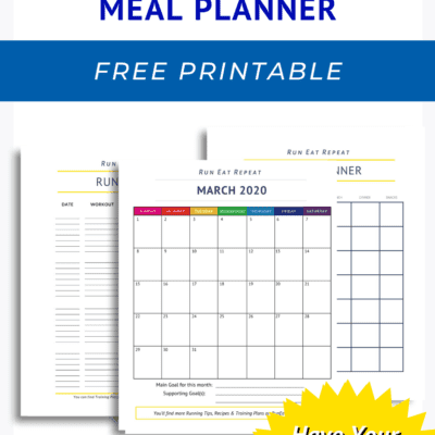 March Meal Planner & Journal for Runners FREE printable pdf
