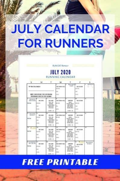 Running Journal Calendar - July 2020 free printable 2