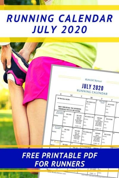 July Running Workout Calendar Journal