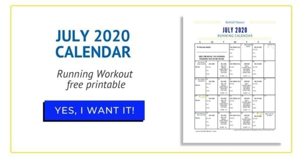 July Running Calendar free printable