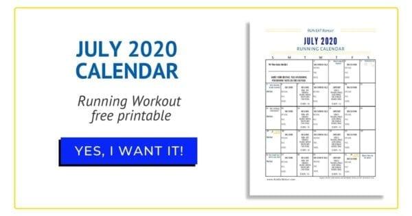 July Running Calendar free printable