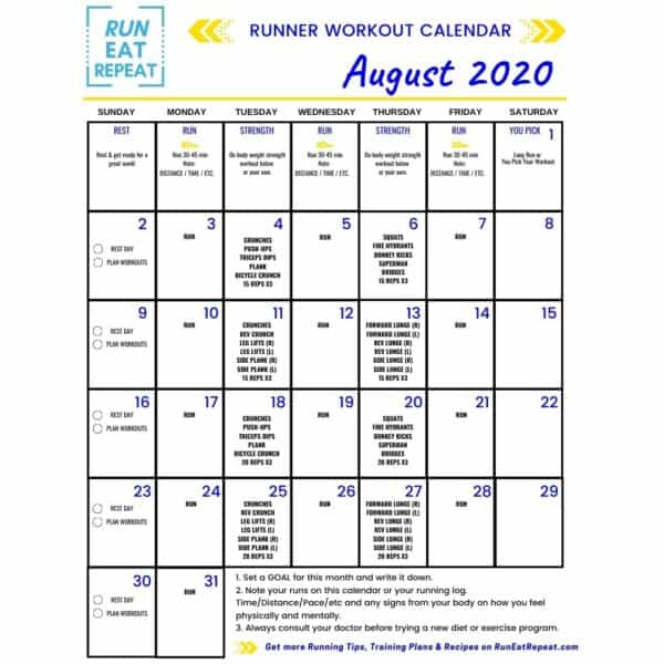 @RunEatRepeat Running Workout Calendar August 2020 (2)