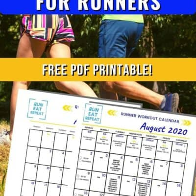 August Running Workout Calendar free printable