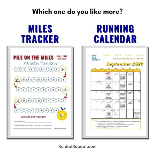 Running Calendar or Miles Tracker @RunEatRepeat