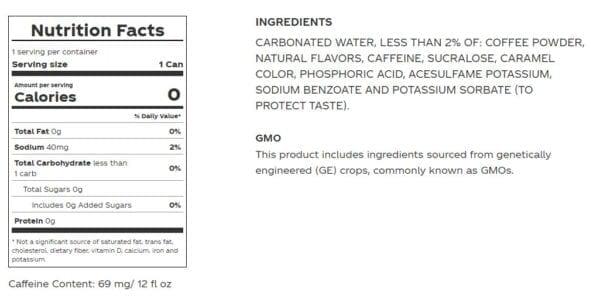 coke zero coffee dark nutrition