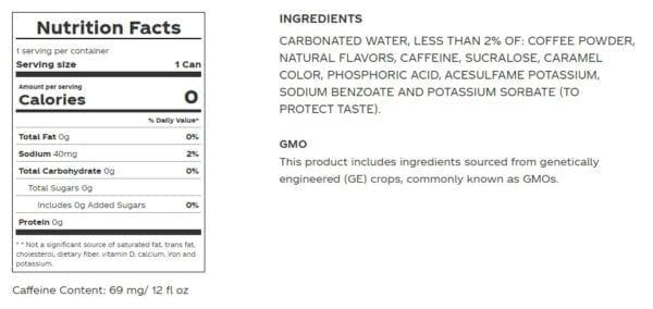 coke zero coffee dark nutrition review